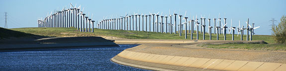 A photo of energy windmills and aqueducts.